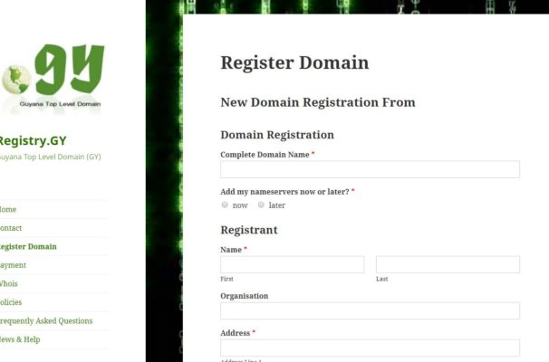 Domain Registration Page
